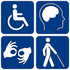 Picture of 4 disability icons that links to D91 website accessibility web page.